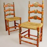 Set of Four Unique Antique Rush Seated Mexican Chairs